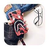 Funda de piel sintética para Apple iPhone 11 x 6S/7, diseño de tiburón con diseño de camuflaje