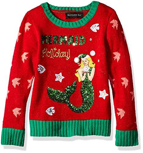 Blizzard Bay Big Girls Ugly Chrismas Sweater, red/Green/Mermaid, XL-16