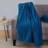 Amazon Basics Weighted Blanket with Minky Duvet Cover - 15lb, 60x80', Navy/Grey