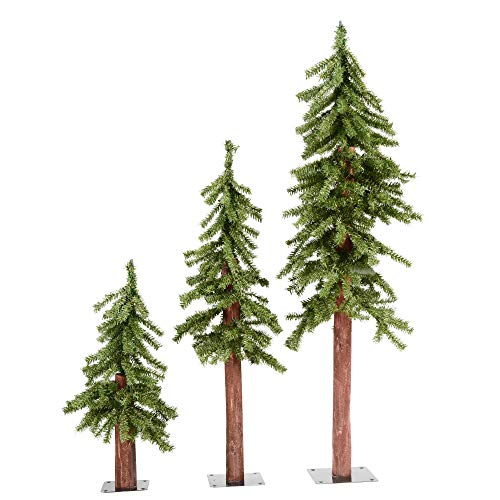 Vickerman A805180 - Natural Alpine Christmas Trees, 2' 3' 4', Green - Unlit