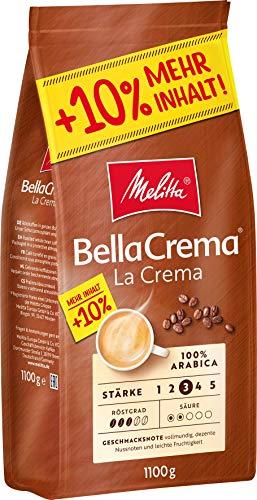 Melitta Ganze Kaffeebohnen, 100% Arabica, vollmundig und ausgewogen, Stärke 3, BellaCrema LaCrema, 1100 g