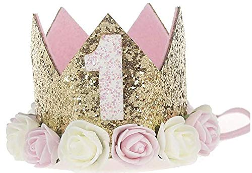 Hitopin 1 Stücke Geburtstag Baby Krone, Baby Princess Crown Geburtstagskrone Haarband Haarschmuck Prinzessin Geburtstagskrone Mädchen Haarband Baby Geburtstag Hut (Rosa)