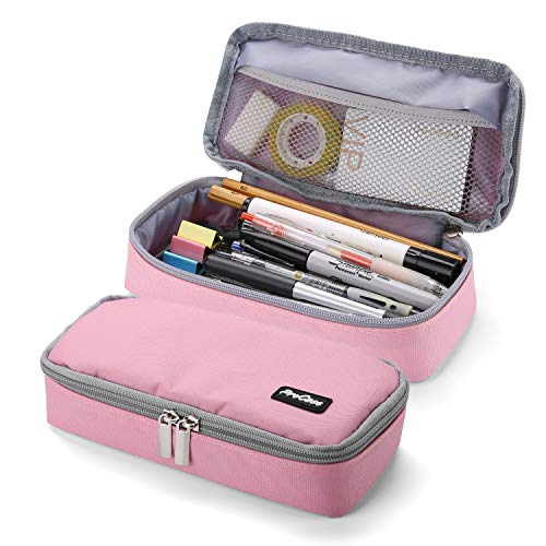 ProCase Pencil Bag Pen Case, Large Capacity Students Stationery Pouch Pencil Holder Desk Organizer with Double Zipper, Portable Pencil Pouch for School Office Supplies –Pink