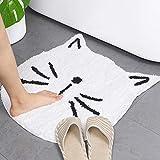 Lacomfy Non-Skid Rubber Backing Door Mat Cartoon Floor Mat White Cat Shape Soft Carpet for Bedroom Bathroom 23.6in Rug