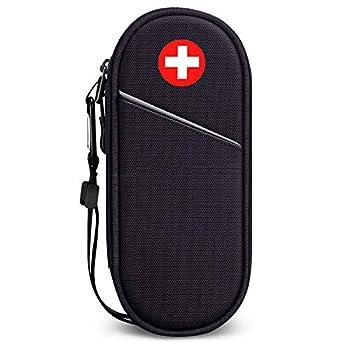 SITHON Sac à Médicaments Vide - Trousse à Pharmacie Organisateur de médicaments Isotherme portable pour 2 EpiPen, Auvi Q, Spray Nasal, allergie Meds, L'asthme Inhaler pour Voyage l'extérieur, (Noir)