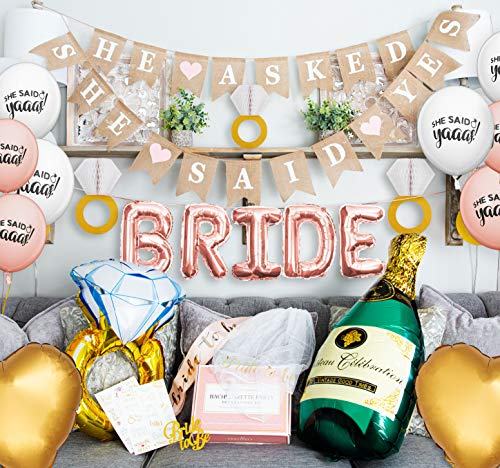 Festively Bachelorette Party Decorations Kit | Bridal Shower Decorations | Wedding Shower Supplies | White and Rose Gold Bachelorette Party Kit | Bride to Be Sash and Bachelorette Decorations