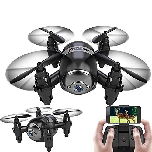tyuiop 2.4G RC Quadcopter with Three Gears Speed, WiFi FPV Mini Drone with HD Camera RC Helicopter, One-Key Takeoff/Landing/Altitude/Return, Follow Me