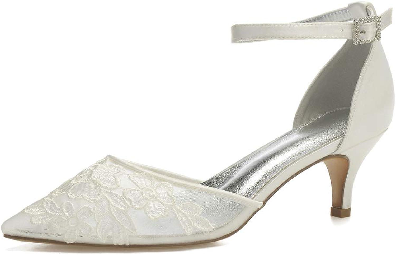 LHWAN Hochzeit Braut Damen spitze Zehe durchsichtig Mesh Prom Schuhe niedrige Ferse Schnalle Brautjungfer Abend Sandalen