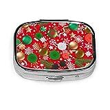 Biglietto di auguri di Natale con oggetti natalizi Scatola portapillole quadrata di moda p...