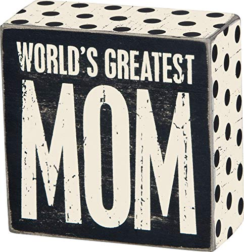 Primitives by Kathy 22655 Family, Box Sign, World's Greatest Mom