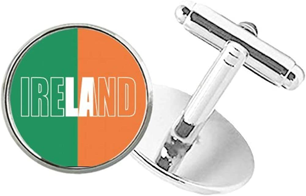 DIYthinker Max 71% OFF Baltimore Mall Ireland Country Flag Name Cuff Round Stud Button Clip