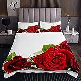 Loussiesd - Copriletto con rose e stampa floreale, per bambini, coppie, ragazze, motivo romantico, con fiori, collezione da letto da giardino, 3 pezzi, matrimoniale