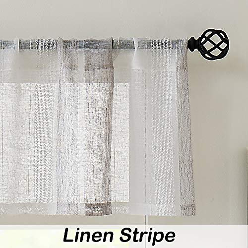 Central Park Gray and White Kitchen Window Curtain Valance Vertical Stripe Sheer Boucle Linen Window Curtain, Living Room Decorative Rod Pocket (54