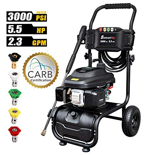 Gas Pressure Washer 3000PSI Powered Washers 2.3GPM 163cc Powerful Surface Cleaner with Accessories
