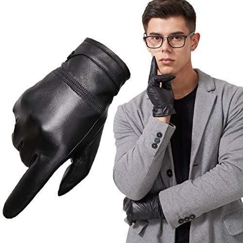 Neusky Herren Lederhandschuhe Touchscreen Handschuhe winter warm Handschuhe aus Nappa - Lammleder mit Kaschmir Futter (Schwarz, L)