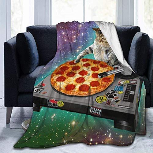 Lawenp Manta de Microfibra Ultra Suave, Manta súper Suave, Grande, Resistente a Las Arrugas, cálida y Lavable, para sofá o Cama, Hipster DJ Cat Pizza Cat 60 x 50 Pulgadas