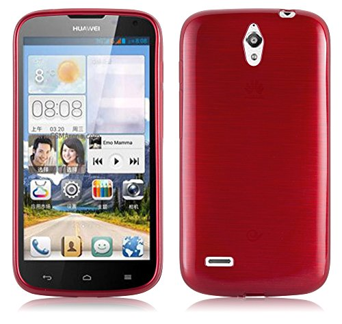 Cadorabo Hülle für Huawei Ascend G610 - Hülle in ROT – Handyhülle aus TPU Silikon in gebürsteter Edelstahloptik (Brushed) Silikonhülle Schutzhülle Soft Back Cover Case Bumper