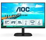 AOC 27B2DA - Monitor FHD da 27 pollici, AdaptiveSync (1920 x 1080, 75 Hz, VGA, DVI, HDMI), nero