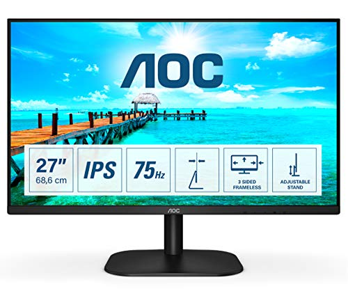AOC 27B2DA - 27 Zoll FHD Monitor, AdaptiveSync (1920x1080, 75 Hz, VGA, DVI, HDMI) schwarz