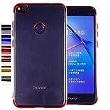 COOVY® Funda para Huawei P8 Lite/Honor 8 Lite (Model 2017) Ligera de silicio TPU, Ultrafina, Transparente con Bordes de Aspecto Cromado   Rojo