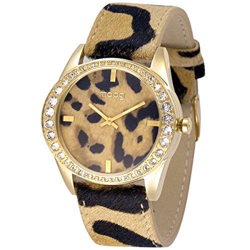 Moog Paris Safari Reloj para Mujer con Esfera Marrón y Negra, Correa Marrón y Negra de Piel Genuina y Cristales Swarovski - M45632-702