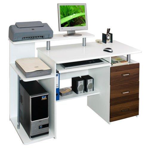 hjh OFFICE Computertisch Büro-Schreibtisch Stella mit Standcontainer, Tastaturauszug, Monitorpodest, viele Ablagefächer, robust gefertigt, einfacher Aufbau, PC-Workstation (weiß/walnuss)