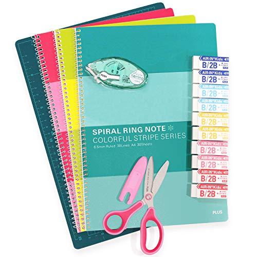 プラス カッターマットA4&子供用ハサミ&消しゴム&ノート3冊&テープのり(お試し版)文具5点セット