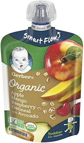 Gerber Organic Purees Apple Mango Raspberry Avocado Oatmeal Toddler Food 3 5 Ounce Pouch Pack product image