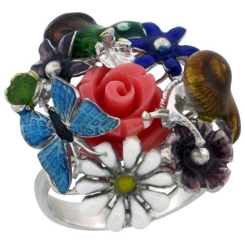 Sterling Silver Butterfly & Flowers Multi Color Enamel Ring, 15/16 in. (24mm) Wide, Size 6