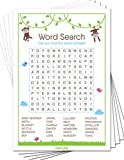 Baby Word Search Game Cards (Pack of 50) - Baby Shower Games for Boys or Girls - Party Activities Ideas Supplies - Safari Jungle Zoo Animals