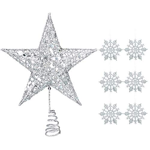 Homo Trends 1PC Silver Tree Topper 10 inch Glitter Christmas Tree Star Topper Xmas Hallow Wire Star Topper And 6Pcs Silver Glitter Snowflake Hanging Decoration for Christmas Tree Decoration