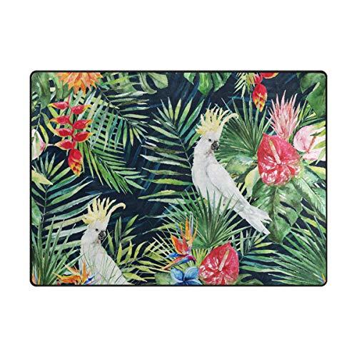 DEZIRO Tapis de Sol antidérapant, Motif Feuilles de Palmier, Blanc, Motif Oiseaux et Oiseaux, Polyester, 1, 63 x 48 inch
