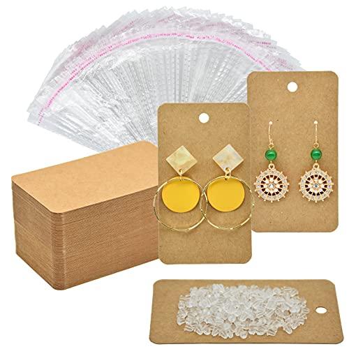 "Twavang Earring Card Holder Set, 100Pcs Kraft Paper Earring Display Cards, 100 Pairs Clear Earring Backs with 100Pcs Self Adhesive Bags for Earrings Jewelry Display (Brown, 3.5"" x 2"")"