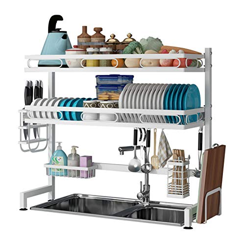 Hundirse Tendedero plato, Contador Organizador para suministros de cocina, Estante de almacenamiento Tabla de cortar y utensilio Titular de ahorro de espacio Desague 82cm