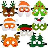 Queta 8 piezas Máscaras de Navidad para niños, Navidad Gafas de fieltro, Gafas de dibujos...