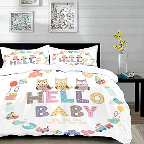bedding - Duvet Cover Set, Baby Shower,Hello Baby Quote with Kids Elements and Funny Owl Birds Welcome Newborn Party,Multi,Microfibre Duvet Cover Set with 2 Pillowcase 50 X 75cm