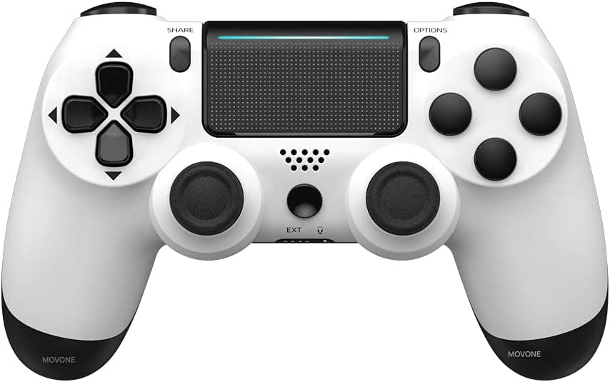 MOVONE Wireless Controller Dual Vibration Game Joystick Controller for PS4/ Slim/Pro,Compatible with PS4 Console (White+Black)