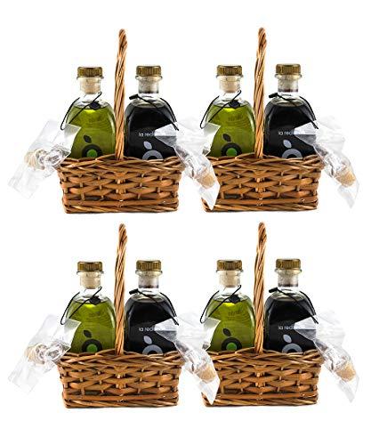 Cesta Regalo Aceite de Oliva Virgen Extra y Vinagre Balsámico Gourmet La Redonda (Caja x4) – Proyecto Apoyo a Artesanos Detalle Cesta Mimbre Hecho a Mano – Botellas 250 ml