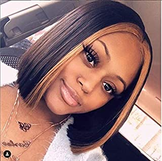 13x6 Lace Front Wigs Brazilian Virgin Human Hair Pre Plucked Hair Line for Black Women Highlight Straight 150% Density with Baby Hair (8 inch, 150% density lace front wig)