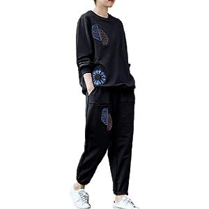 [JINPIN]スウェット ジャージ スポーツウェア レディース セットアップ パンツ パーカー 上下セット トレーナー スポーツ ロングパンツ トップス 部屋着 運動 カジュアル オシャレ 長袖 トレーニング ゆったり ダンス 大きいサイズ (ブラック,2XL)