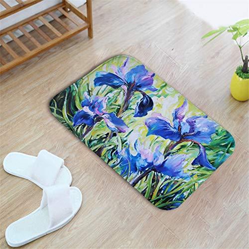 HIUGHJ TeppichWasserdichte Fußmatte für Eingangstür Willkommen zu Hause Benutzerdefinierte Tür Blume Matte Fußmatten Rutschfeste Teppiche Küche Teppich Matten Flur