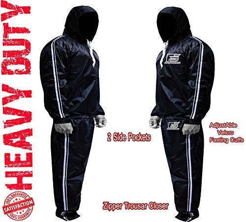 FIGHTSENSE MMA Sauna Sweat Suit Non Rip Track Weight Loss Slimming Fitness Gym Exercise Training (Silver Hoodies & Pants, 2XL)