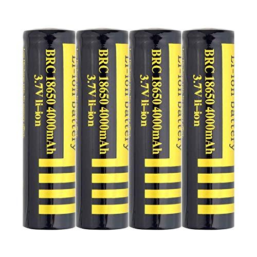 18650 BateríA Recargable 3.7V 4000 Mah Pilas Li-Ion BotóN De La BateríA Superior BateríAs De Gran Capacidad Respetuoso Con El Medio Ambiente Conveniente Para Linterna Led (4 Pcs)