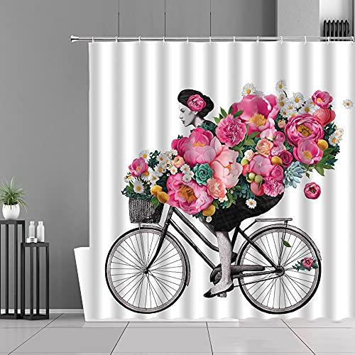 XCBN Blume Retro Fahrrad Mädchen Duschvorhang Haushalt Badewanne Dekoration wasserdichte Trennwand Bad Bildschirm A2 180x200cm