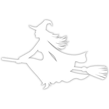 Easydruck24de Sticker Hexe Auf Besen Links I Weiß I 20 X 13 5 Cm I Als Auto Aufkleber Für Notebook Laptop Koffer Kinder Zimmer I Wetterfest I Kfz 489 Auto