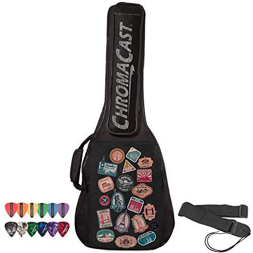 ChromaCast World Tour Graphic Two Pocket 3/4 Size Acoustic Guitar Padded Gig Bag, with Pick Sampler & Guitar Strap (CC-A3/4PB-BAG-WT-KIT-1)