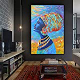 RTCKF Nordischen Stil Leinwand Afrikanische Abstrakte Wandbild Frau Wanddekoration Kunst Aquarell Wohnzimmer Poster A3 50x70 cm