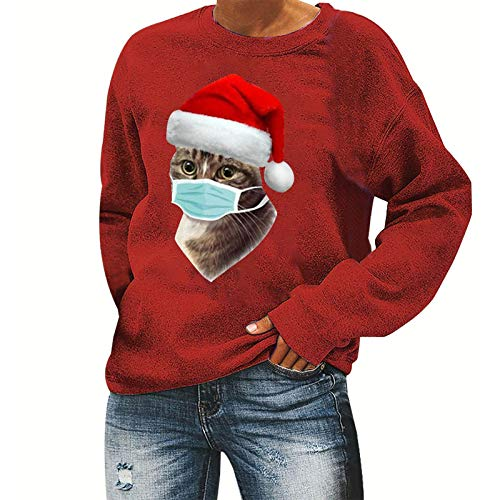 FEISI22 Santa Claws Cat Ugly Christmas Sweater Style Women Sweatshirt Red