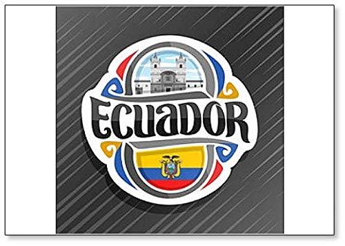 Ecuador, Kloster St. Franziskus in Quito mit Ecuadorianische Flagge, klassischer Kühlschrankmagnet