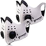 2 x FIGHTECH Dust Masks   Combo Kit with 10 Active Carbon Filters   2 extra Ait Valves   Face MAsk for Pollution Pollen Allergy Woodworking Mowing   Washable and Reusable (Large, White)